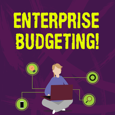 Writing note showing Enterprise Budgeting. Business concept for estimated income and expenses associated in business Woman Sitting with Crossed Legs on Floor Browsing the Laptop Zdjęcie Seryjne