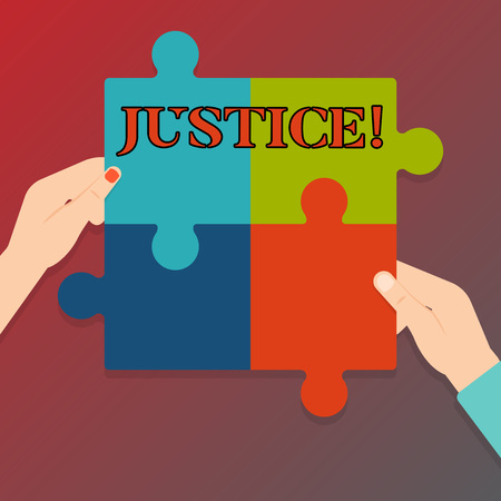 Handwriting text writing Justice. Conceptual photo impartial adjustment of conflicting claims or assignments Four Blank Multi Color Jigsaw Puzzle Tile Pieces Put Together by Human Hands