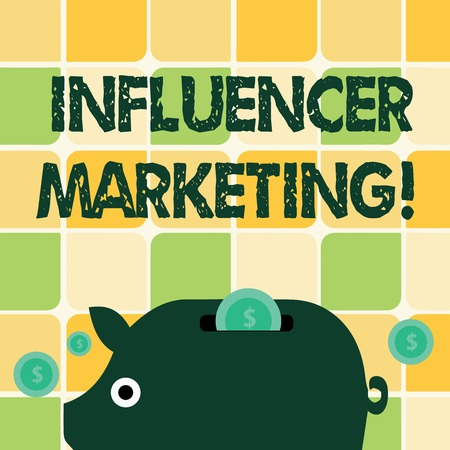 Word writing text Influencer Marketing. Business photo showcasing drive brand message to a specific market of consumers Colorful Piggy Money Bank and Coins with Dollar Currency Sign in the Slit