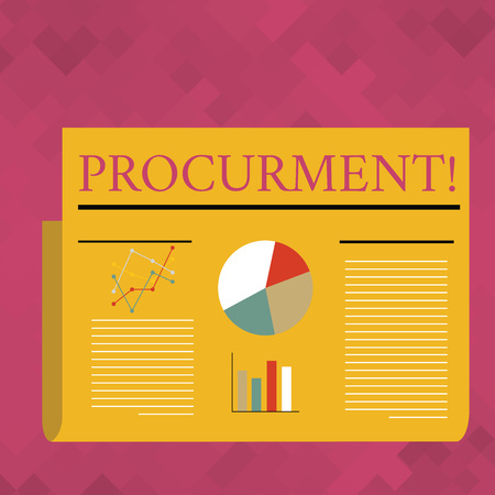 Text sign showing Procurment. Business photo text action of acquiring military equipment and supplies Colorful Layout Design Plan of Text Line, Bar, Linear and Pie Chart Diagram