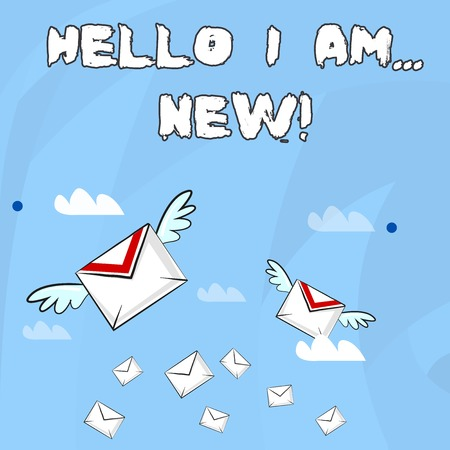 Conceptual hand writing showing Hello I Am New. Concept meaning used as greeting or to begin telephone conversation Colorful Airmail Letter Envelopes and Two of Them with Wings