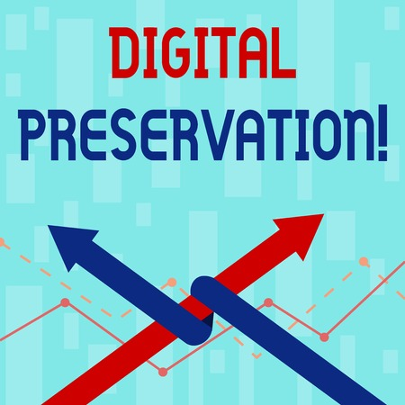 Writing note showing Digital Preservation. Business concept for ensuring access to digital information when necessary Two Arrows One Intertwined to Other Team Up or Competition Archivio Fotografico