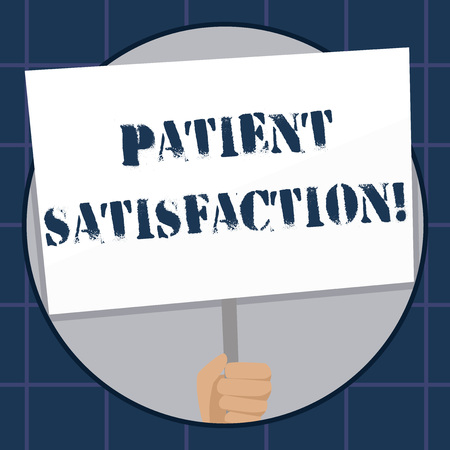 Conceptual hand writing showing Patient Satisfaction. Concept meaning measure of the extent to which a patient is content Hand Holding White Placard Supported for Social Awareness