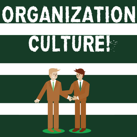 Conceptual hand writing showing Organization Culture. Concept meaning social and psychological environment of an organization Businessmen Smiling and Greeting each other by Handshaking