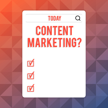 Text sign showing Content Marketing question. Business photo text involves creation and sharing of online material Search Bar with Magnifying Glass Icon photo on Blank Vertical White Screen
