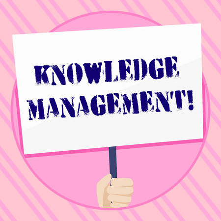Text sign showing Knowledge Management. Business photo showcasing efficient handling of information and resources Hand Holding Blank White Placard Supported by Handle for Social Awareness