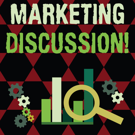 Text sign showing Marketing Discussion. Business photo text deliberation by company to promote the buying Magnifying Glass Over Bar Column Chart beside Cog Wheel Gears for Analysis