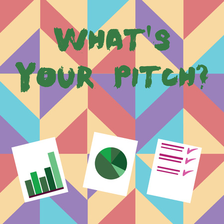Text sign showing What S Is Your Pitch question. Business photo showcasing asking about property of sound or music tone Presentation of Bar, Data and Pie Chart Diagram Graph Each on White Paper Stock fotó