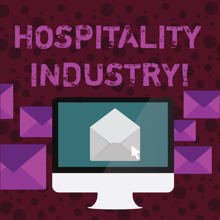 Conceptual hand writing showing Hospitality Industry. Concept meaning focus on the hotel and accommodation industry Open Envelope inside Computer Letter Casing Surrounds the PC