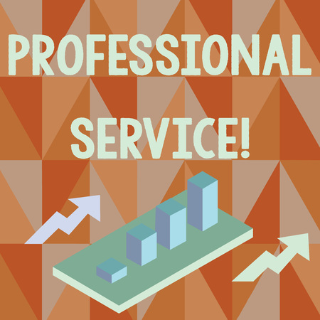 Word writing text Professional Service. Business photo showcasing requiring special training in the arts or sciences Colorful Clustered 3D Bar Chart Graph Diagram in Perspective with Two Arrows Stok Fotoğraf