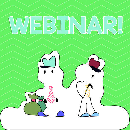 Writing note showing Webinar. Business concept for seminar or other presentation types that takes place on Internet Figure of Two Men Standing with Pouch Bag White Snow Effect