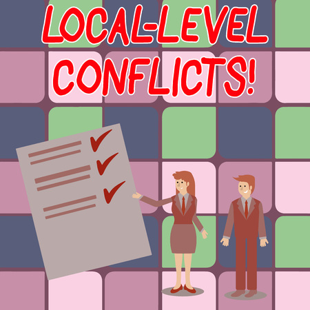 Word writing text Local Level Conflicts. Business photo showcasing creating local incentives to spoil the process Man and Woman in Business Suit Presenting Report of Check and Lines on Paper