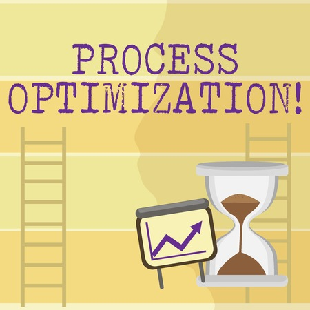 Writing note showing Process Optimization. Business concept for improves the processes and takes them to a high level Growth Chart with Arrow Going Up and Hourglass Sand Sliding