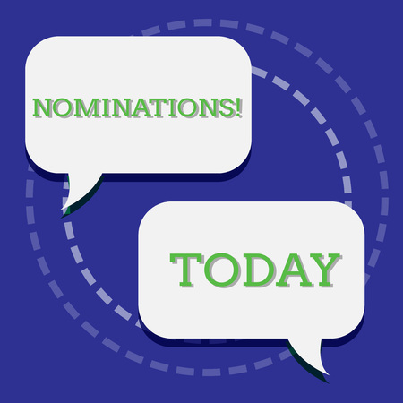 Handwriting text writing Nominations. Conceptual photo action of nominating or state being nominated for prize Two Blank White Speech Balloon Engaging in Conversation on Pastel Backdrop