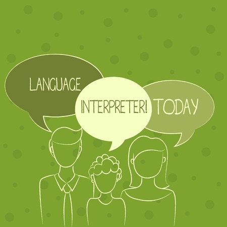 Conceptual hand writing showing Language Interpreter. Concept meaning Convey messages between two different languages Family of One Child Between Father and Mother Speech Bubble