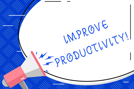 Writing note showing Improve Productivity. Business concept for Increase the amount of goods and services available Oval Shape Sticker and Megaphone Shouting with Volume Icon Reklamní fotografie