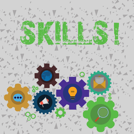 Word writing text Skills. Business photo showcasing ability do something very well by nature Set of Global Online Social Networking Icons Inside Colorful Cog Wheel Gear