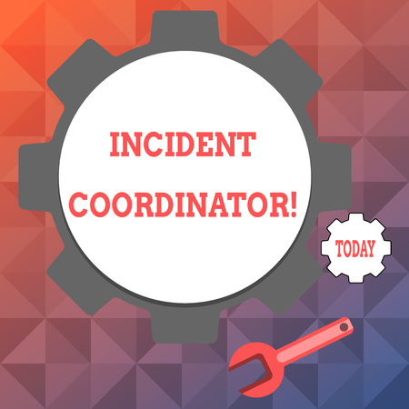 Text sign showing Incident Coordinator. Business photo text responsible for the integrity of the Incident Big and Small Cog Wheel Gear and Wrench Mechanical Tool for SEO and Web Icon Archivio Fotografico