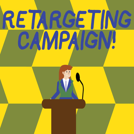 Writing note showing Retargeting Campaign. Business concept for targetconsumers based on their previous Internet action Businesswoman Behind Podium Rostrum Speaking on Microphone 스톡 콘텐츠