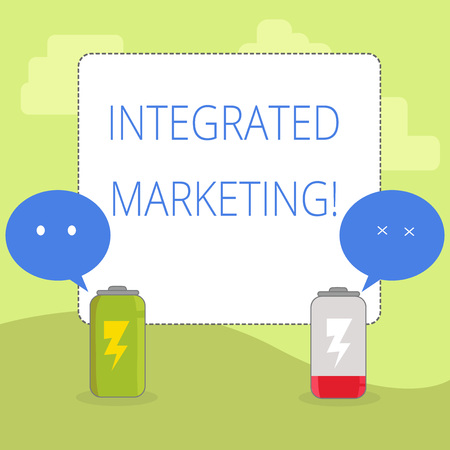 Word writing text Integrated Marketing. Business photo showcasing creating unified and seamless experience for consumers Fully Charged and Discharged Battery with Two Colorful Emoji Speech Bubble