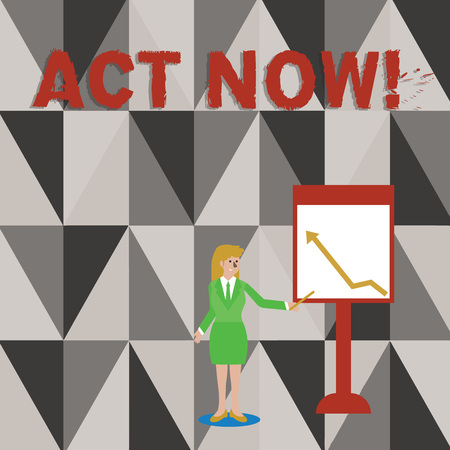 Conceptual hand writing showing Act Now. Concept meaning do not hesitate and start working or doing stuff right away Woman Holding Stick Pointing to Chart of Arrow on Whiteboard