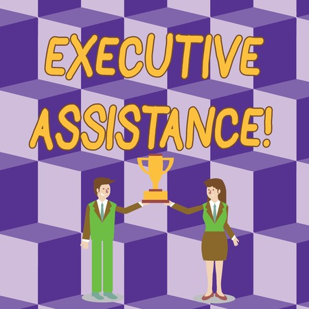 Conceptual hand writing showing Executive Assistance. Concept meaning focus on providing highlevel administrative support Man and Woman Business Suit Holding Championship Trophy Cup