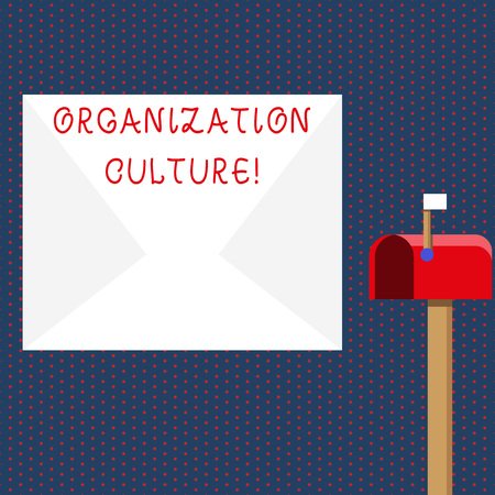 Conceptual hand writing showing Organization Culture. Concept meaning social and psychological environment of an organization White Envelope and Red Mailbox with Small Flag Up Signalling