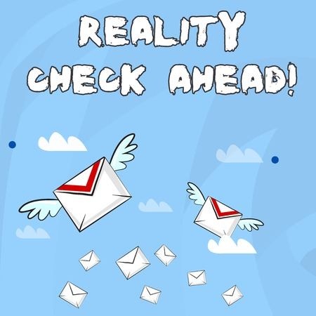 Conceptual hand writing showing Reality Check Ahead. Concept meaning makes them recognize truth about situations or difficulties Colorful Airmail Letter Envelopes and Two of Them with Wings
