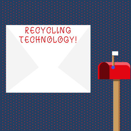 Conceptual hand writing showing Recycling Technology. Concept meaning the methods for reducing solid waste materials White Envelope and Red Mailbox with Small Flag Up Signalling