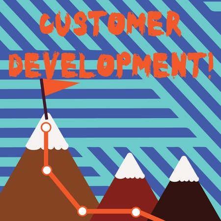 Conceptual hand writing showing Customer Development. Concept meaning formal methodology for building business startups Three Mountains with Hiking Trail and Snowy Top with Flag