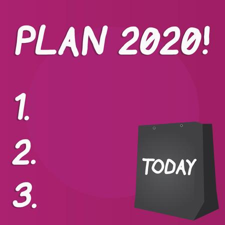 Escribir nota que muestra el Plan 2020. Concepto de negocio para una propuesta detallada para hacer o lograr algo el año que viene Bolsa de regalo de color con orificio perforado en un espacio en blanco de dos tonos