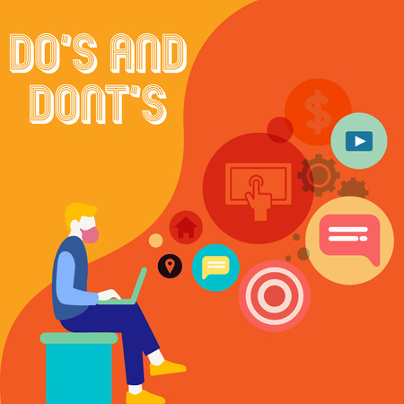 Writing note showing Do S Is And Dont S Is. Business concept for advising Rules or customs concerning some activity Man Sitting with Laptop and SEO Driver Icons on Blank Space