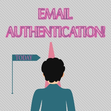 Text sign showing Email Authentication. Business photo text used to block harmful or fraudulent uses of email Man Facing the Distance Ahead and Blocking the View of Straight Narrow Path