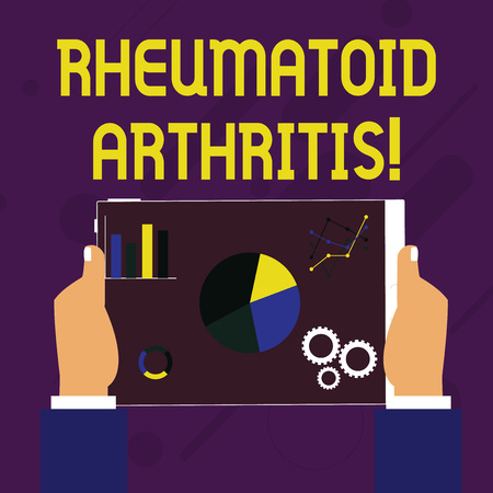 Writing note showing Rheumatoid Arthritis. Business concept for chronic progressive disease causing joints inflammation Hands Holding Tablet with Search Engine Optimization on the Screen