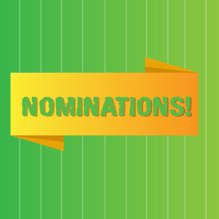 Word writing text Nominations. Business photo showcasing action of nominating or state being nominated for prize Blank Folded Color Banner photo on Vertically Striped Two Toned Backdrop