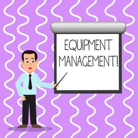 Conceptual hand writing showing Equipment Management. Concept meaning supervision of noncapitalized assets and stock items Man in Necktie Holding Stick Pointing White Screen on Wall Фото со стока