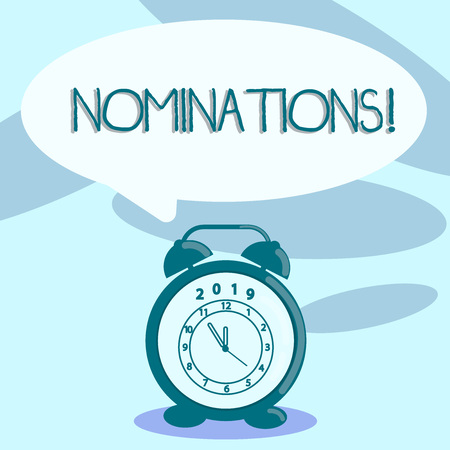 Writing note showing Nominations. Business concept for action of nominating or state being nominated for prize Speech Balloon Pastel Shade and Colorful Analog Alarm Clock Stock Photo