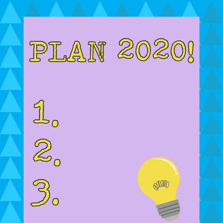 Word writing text Plan 2020. Business photo showcasing detailed proposal for doing or achieving something next year Incandescent Light Bulb with Filament Inside Resting on Blank Color Paper