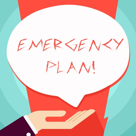 Conceptual hand writing showing Emergency Plan. Concept meaning actions developed to mitigate damage of potential events Palm Up in Supine position Donation Hand Sign Speech Bubble Imagens - 120927940