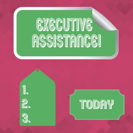 Word writing text Executive Assistance. Business photo showcasing focus on providing highlevel administrative support Blank Color Label, Self Adhesive Sticker with Border, Bended Corner and Tag