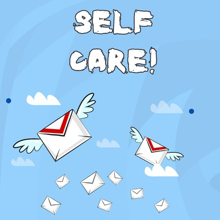Conceptual hand writing showing Self Care. Concept meaning practice of taking action to preserve or improve ones own health Colorful Airmail Letter Envelopes and Two of Them with Wings