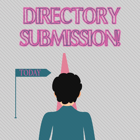 Text sign showing Directory Submission. Business photo text main source to increase backlinks for your website Man Facing the Distance Ahead and Blocking the View of Straight Narrow Path