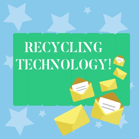 Handwriting text writing Recycling Technology. Conceptual photo the methods for reducing solid waste materials Closed and Open Envelopes with Letter Tucked In on Top of Color Stationery
