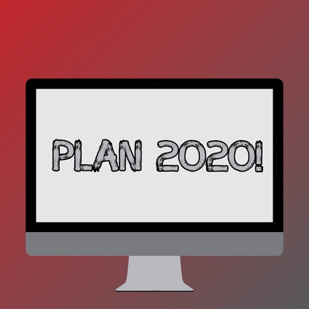 Text sign showing Plan 2020. Business photo text detailed proposal for doing or achieving something next year Blank White Computer Monitor WideScreen Mounted on a Stand for Technology