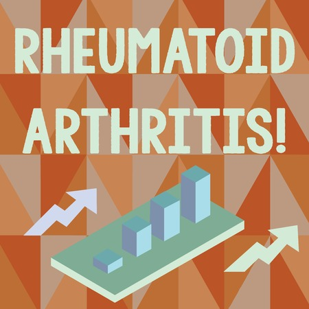 Word writing text Rheumatoid Arthritis. Business photo showcasing chronic progressive disease causing joints inflammation Colorful Clustered 3D Bar Chart Graph Diagram in Perspective with Two Arrows