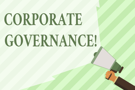 Word writing text Corporate Governance. Business photo showcasing system of processes by which a firm is controlled Hand Holding Megaphone with Blank Wide Beam for Extending the Volume Range