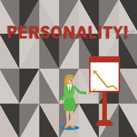 Conceptual hand writing showing Personality. Concept meaning combination characteristics that form individuals character Woman Holding Stick Pointing to Chart of Arrow on Whiteboard