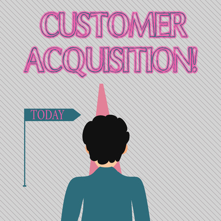 Text sign showing Customer Acquisition. Business photo text persuading a consumer to purchase a company s is goods Man Facing the Distance Ahead and Blocking the View of Straight Narrow Path Stock Photo