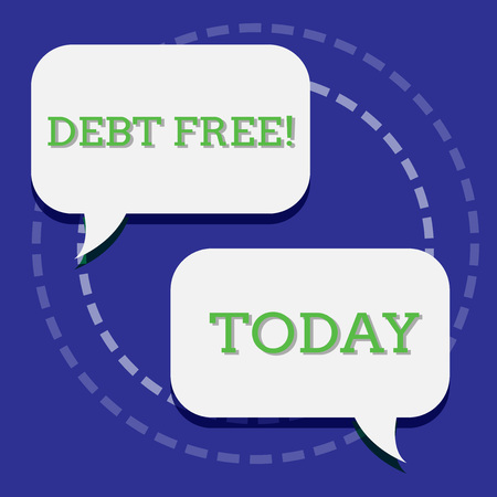 Handwriting text writing Debt Free. Conceptual photo does not owning any money or things to any individual or companies Two Blank White Speech Balloon Engaging in Conversation on Pastel Backdrop Reklamní fotografie