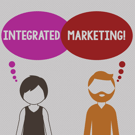 Writing note showing Integrated Marketing. Business concept for creating unified and seamless experience for consumers Bearded Man and Woman with the Blank Colorful Thought Bubble